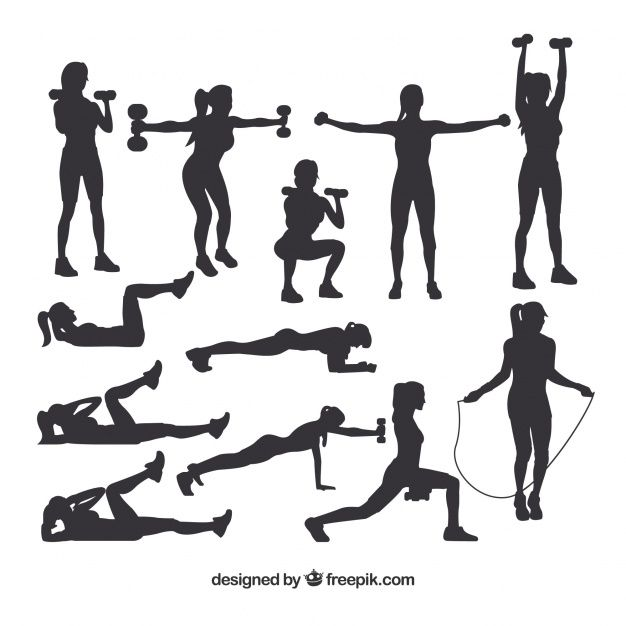 Collection Of Silhouettes Doing Sport Silhouette Fitness Art Gym Art