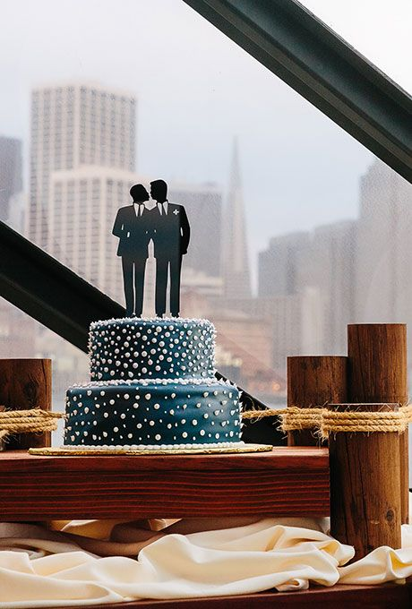 Same-Sex Gay Lesbian Wedding Cake Toppers: Laser-Cut Silhouette of Two Grooms   Brides.com