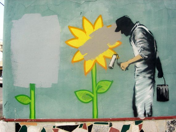 Banksy Canvas (READY TO HANG) - Painting Sunflowers - Multiple Canvas Sizes