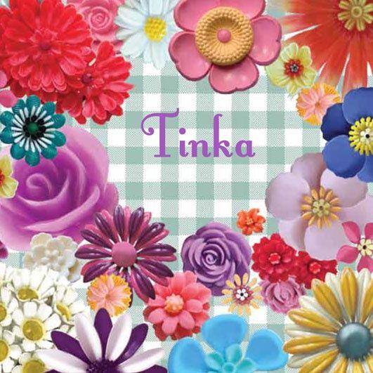 Geboortekaartje Tinka- kaartje met retro vintage plastic bloemen collage - www.petitkonijn.nl
