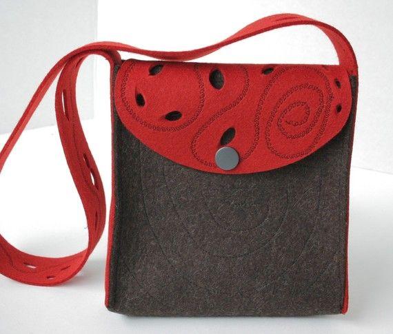 Wool Felt Purse in Red and Chocolate Merino Felt