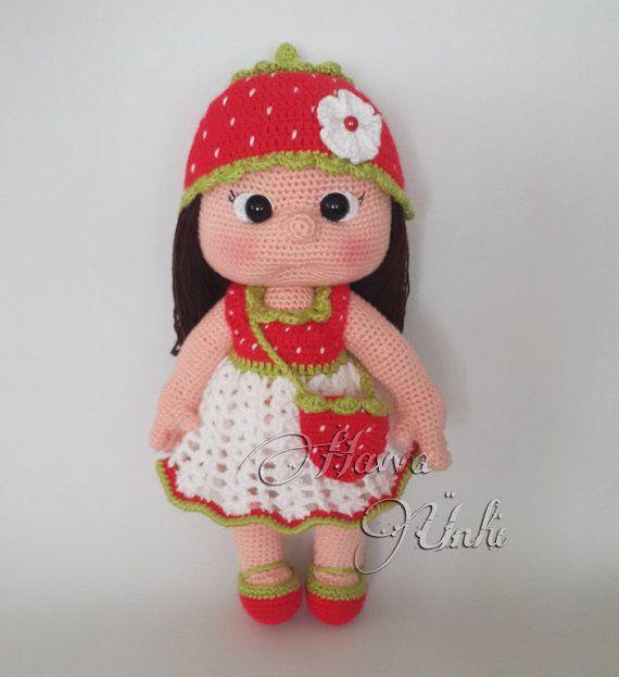 PATTERN  Strawberry Girl crochet amigurumi by HavvaDesigns on Etsy, $12.00