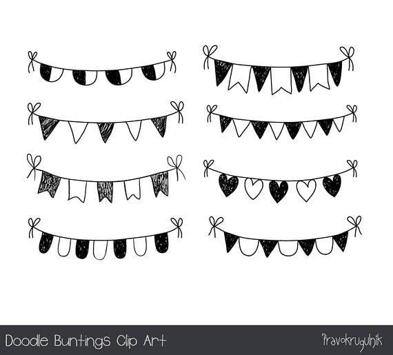 Doodle Bunting Clipart Hand Drawn Bunting Clip Art Black Etsy How To Draw Hands Clip Art Doodles