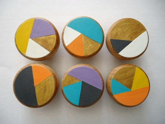 Handpainted Wooden Drawer Knobs Funky Town - Set of 6 by MYMIMISTAR on Etsy