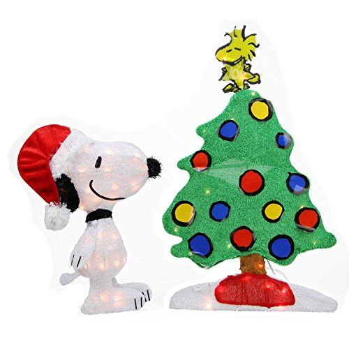 Felices Pascuas Collection 24 inch Pre-Lit 2-D Peanuts Snoopy and Christmas Tree Yard Art Decoration - Clear Lights