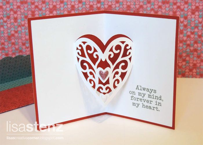 Lisa S Creative Corner Valentie Pop Up Card Using Artfully Sent