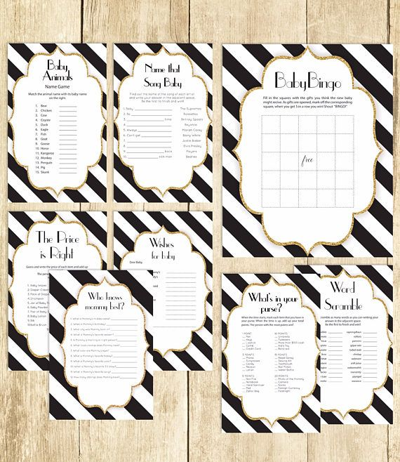 Baby Shower Games Package in Black and White Eight Printable Games: Bingo Price is Right Purse Game Baby Animals and More 0061A-BAW by TppCardS #tppcards #printable #invitations