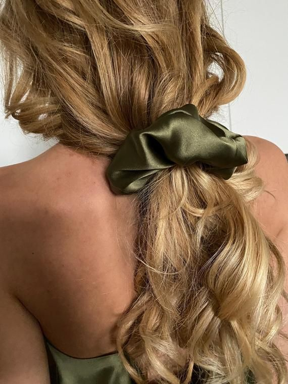 Khaki Silk Scrunchie Silk Hair Scrunchies Hair Accessory Etsy In 2020 Scrunchie Hairstyles Long Blonde Hair Natural Hair Styles