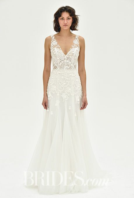 "Brides.com: . ""Paisley"" fit-and-flare tulle wedding dress with floral crystal detailing, Christos"