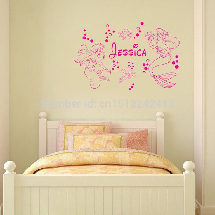 Русалка АРИЭЛЬ Пользовательское Имя стены искусства наклейки украшения дома стикер стены девушка спальня обои декор фрески