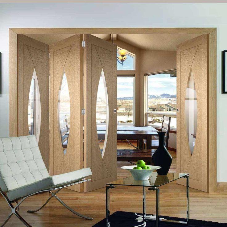 Thrufold Pesaro Oak 3+1 Folding Door - Clear Glass - Lifestyle Image - #livingroom #glazeddoors #doors