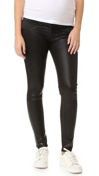 Black Leatherette Citizens of Humanity Racer Skinny Maternity Jeans