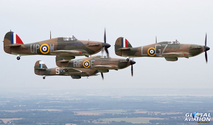 The stirring sight of four Hurricanes in classic 'finger four' formation. © Mike Rivett – http://www.fotomotion.org/