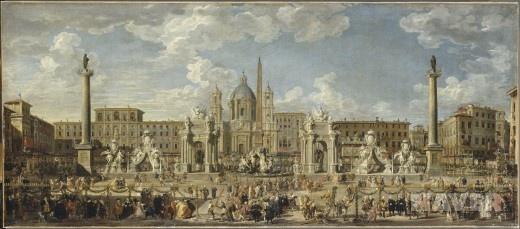 황태자의 탄생을 축하하기 위해 1729년 11월 30일 로마 나보네 광장에서 열린 축제 장식과 불꽃놀이 준비 - 지오반니 파올로 파니니