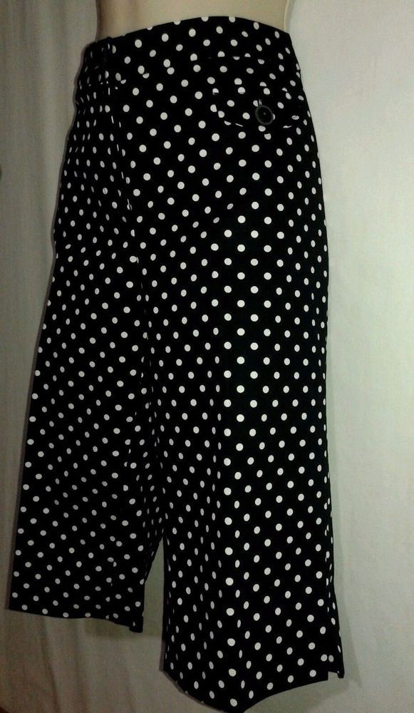 OSCAR de Larenta  Black White Capri Pant Sz 6 Polka Dot Cotton Blend  #OSCARbyOscardelaRenta #CaprisCropped