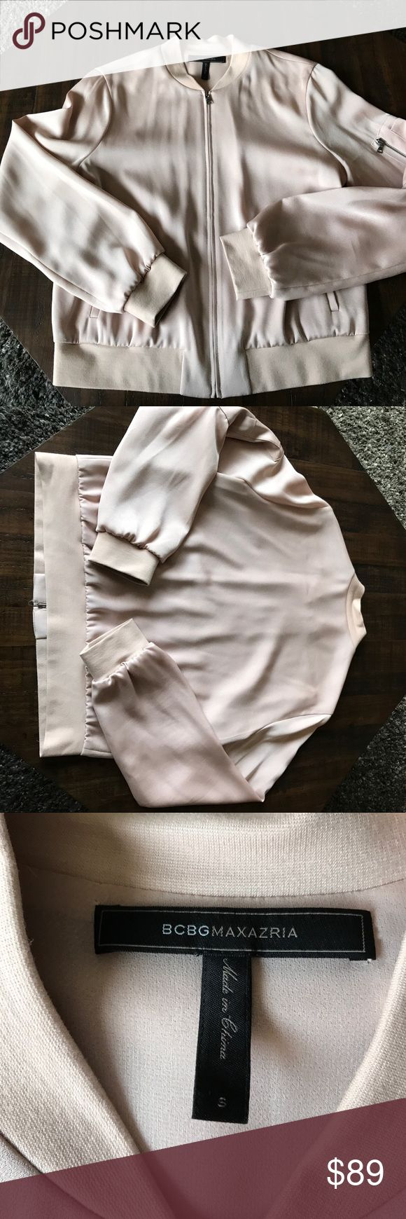BCBGMAXAZRIA blush bomber jacket size S BCBGMAXAZRIA silly blush colored bomber jacket size S, perfect condition BCBGMaxAzria Jackets & Coats