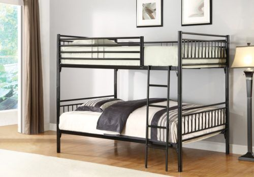 Black Full and Sturdy Metal Bunk Bed by Home Source