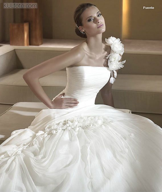 Pronovias -Ball Gowns Collection - Luxury designer wedding dress - front view, closer look