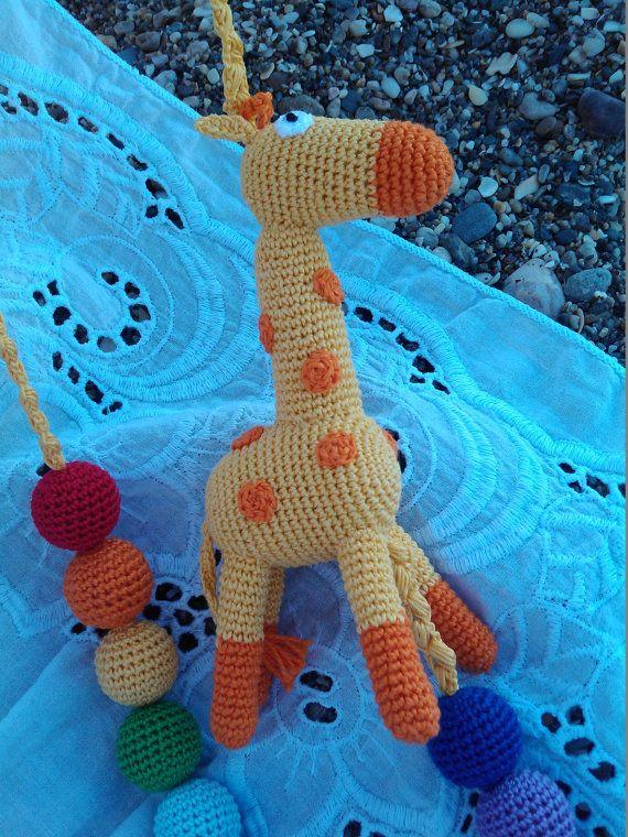 Sling necklace sling beads teething beads animal por OmGanchillo