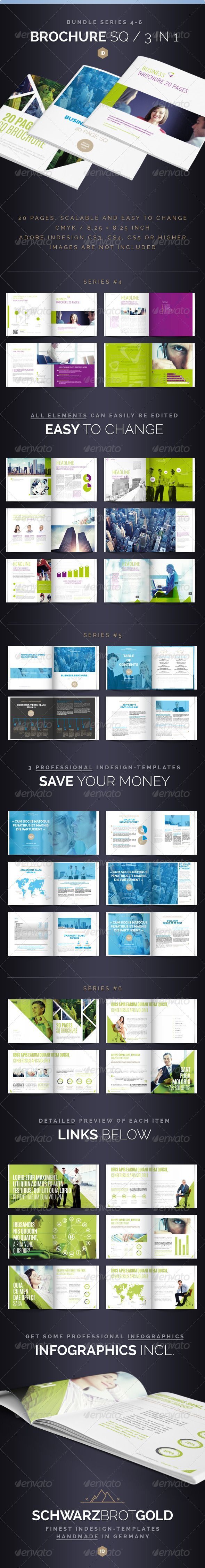 Brochure Bundle Square 20 Pages Series 4-6 .This image is available on GraphicRiver. Brochure Bundle Square 20 Pages Series 4-6 InDesign CS3 / CS4 / CS5
