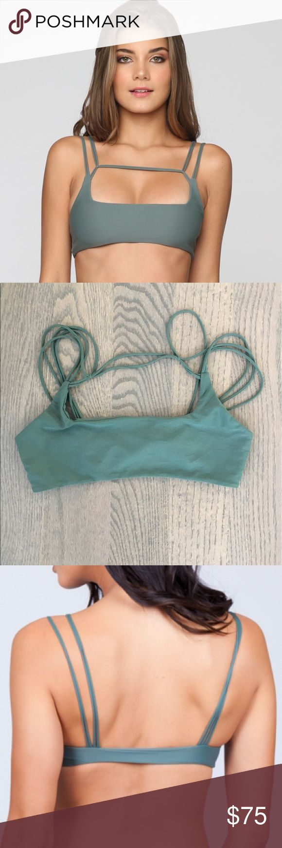 Mikoh Kapa'a Bikini Top Army green strappy top from Mikoh in size MED.  Worn once for about an hour, and hand washed.  Perfect condition, just too big on me so I ordered another in a smaller size. Mikoh Swim Bikinis