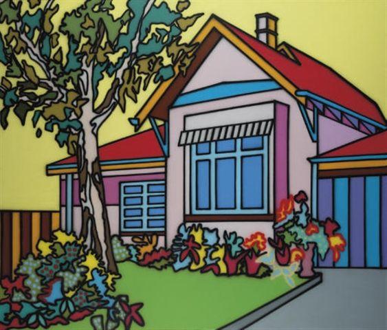 Suburbia Series of paintings. Artwork by Howard Arkley - Australian Aerosol Artists 1951-99.