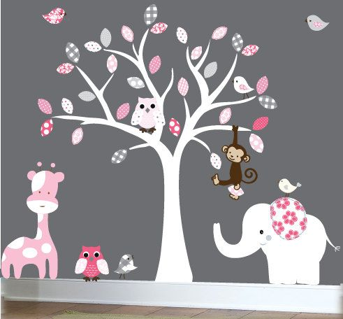 Baby wall decal white tree wall decal owl white, pink, grey leaves wall sticker