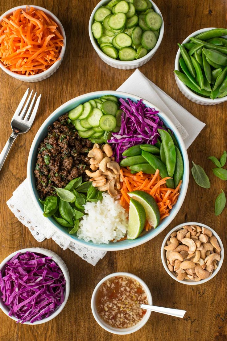 These 30 minute Thai Basil Beef Bowls are fresh, vibrant, healthy and super delicious! Perfect for weeknight meals or dinner parties!