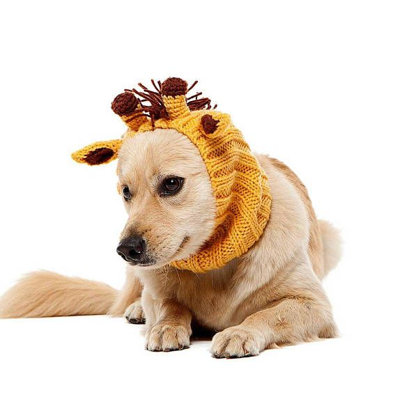 Giraffe Dog Snood Knit Crochet Dog Hat Halloween Dog Costume
