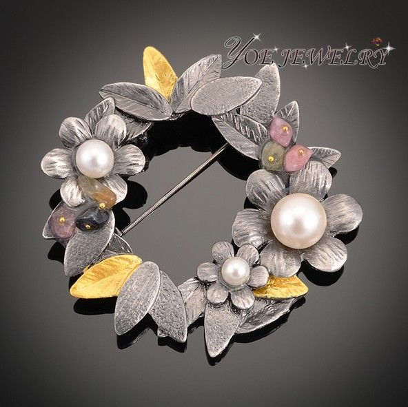 2015 мода в винтажном стиле суд старый цветок броши с натуральным камнем пен перл брошь подвеска для женщин.