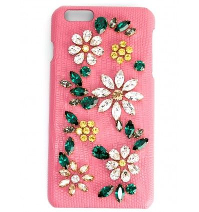 Pink leather daisy crystal embellished iPhone 6 case from Dolce & Gabbana featuring an internal logo stamp.