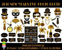 Instant download - PRINTABLE New Years Eve Photo Booth Props - Set of 49 pieces: 36 props, 12 speech bubbles, 1 photo booth sign - PRINTABLE