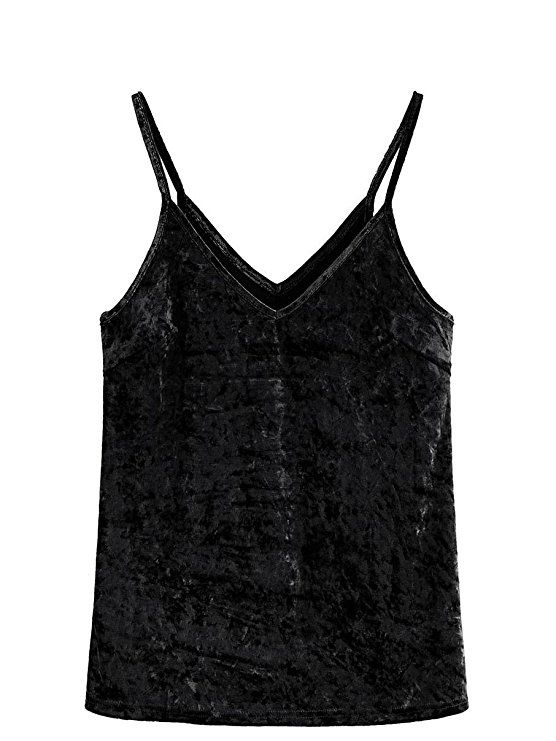 522f122242a226 SheIn Women s Casual Basic Strappy Velvet V Neck Cami Tank Top at Amazon  Women s Clothing store