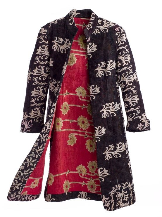 jacket made from handcrafted Indian dowry quilts : Joanna John Collection