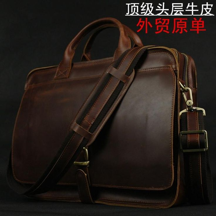 [Visit to Buy] Luxury Genuine Leather Briefcase Men Briefcase Leather Laptop Bag portfolio men Business bag male brief case document office bag #Advertisement