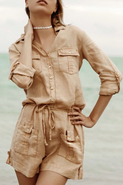 ea11036f042d 100% Linen Button Down Romper With Pockets and Drawstring in Natural ...