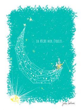 Arts Graphiques   Julie Zeitline   La pêche aux étoiles - bleu   Tirage d'art en série limitée sur L'oeil ouvert