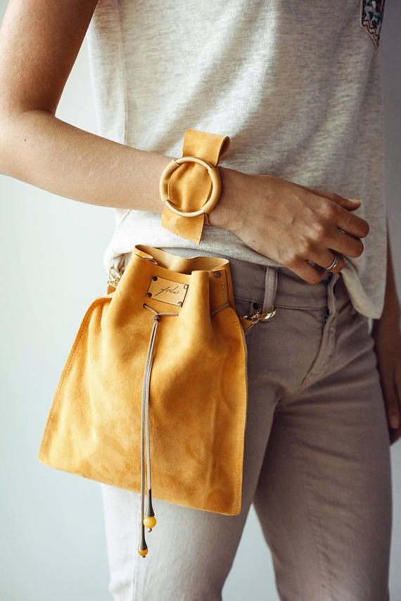 Leather Handbag, Leather purse, Yellow Handbag, Designer bags, Leather Crossbody…