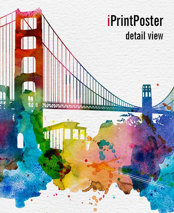 San Francisco skyline watercolor San Francisco Art by iPrintPoster