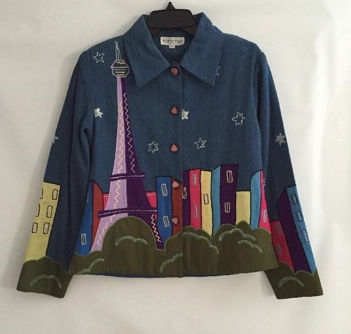KAKTUS DENIM PARIS EMBROIDERED JACKET BLAZER TIE DIE PETITE MEDIUM Eiffel TOWER #Kaktus #BasicJacket