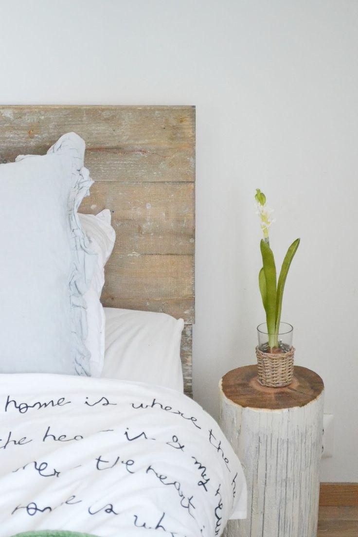 reclaimed wood & script on bedding