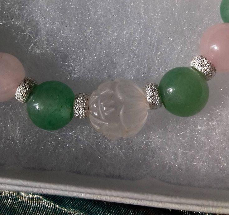 Floral Garden - 925 sterling silver stardust beads bracelet with carved Rose Quartz lotus and green Aventurine gemstones - handmade