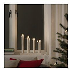 IKEA - STRÅLA, LED 4 arm candelabra, , Gives a warm, cozy glow and spreads the holiday atmosphere in your home.The LED light bulb consumes up to 85% less energy and lasts 10 times longer than incandescent bulbs.