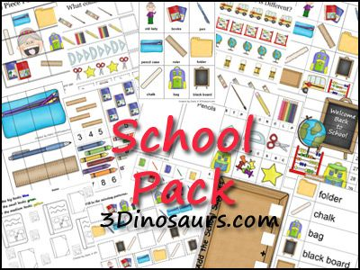 School Pack contains over 60 pages:   3 Part Cards, Beginning Sounds, Matching Cards, Read Write the Room, Which One Is Different, What Comes Next, Pre Writing Practice, Pattern Cards, 10 Piece Puzzles, 4 Piece Puzzles, Size Sorting, Cutting Practice, Sorting, Clip and Count Cards, Math, Color the Pattern, 2 Small Books Color and more.