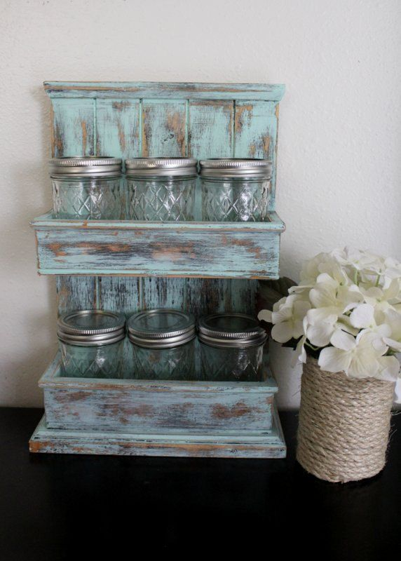 Shabby Chic Kichen Storage - Spice Rack, Mason Jar Storage - Aqua Kitchen - Jars with Wooden Rack. $45.00, via Etsy.
