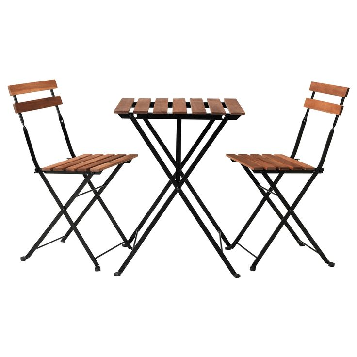 I love this little set! It's not fancy or terribly large, but it's all wood and metal, looks sharp, and only costs $50. Bought it for my patio.