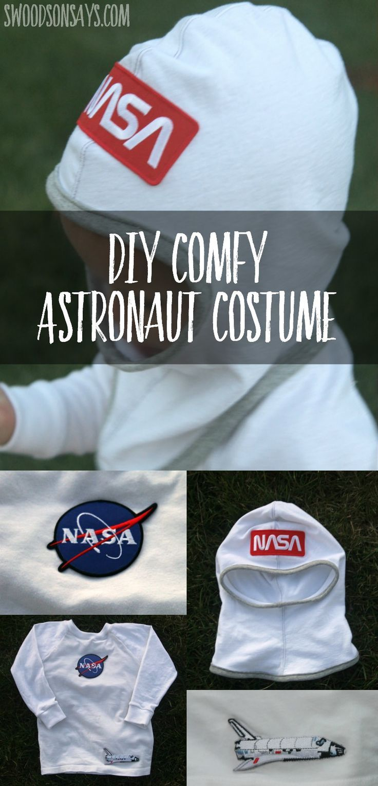 An easy DIY astronaut costume with instructions on how to sew a hood and add a few patches!