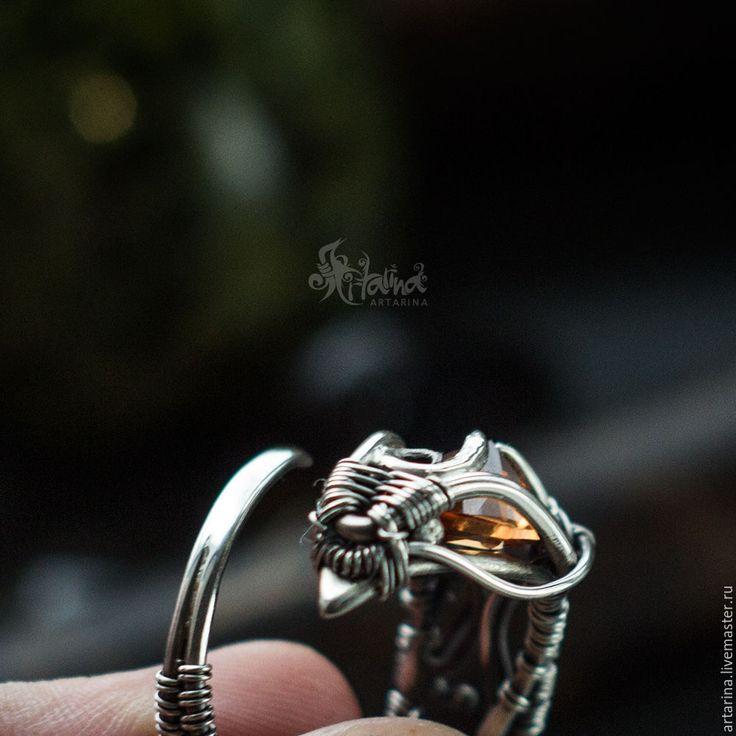 Купить Серебряное кольцо с желтым камнем - оранжевый, кольцо с драконом, серебряное кольцо, безразмерное кольцо