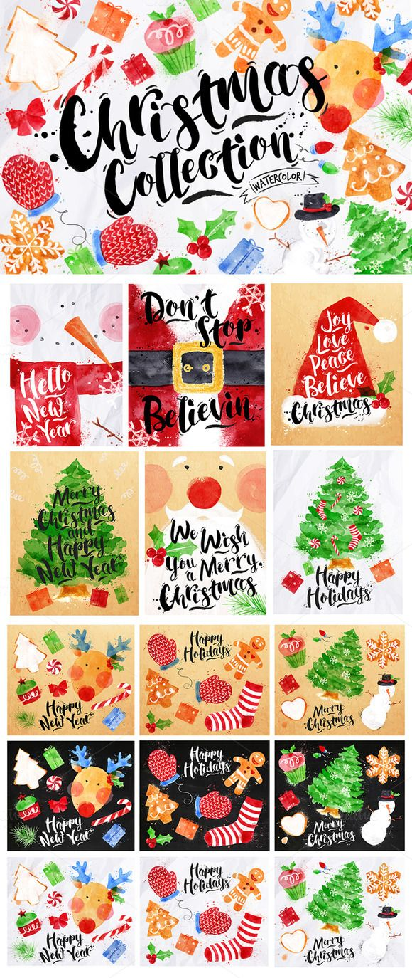 Christmas Collection by Anna on Creative Market #designtools #christmas #illustration