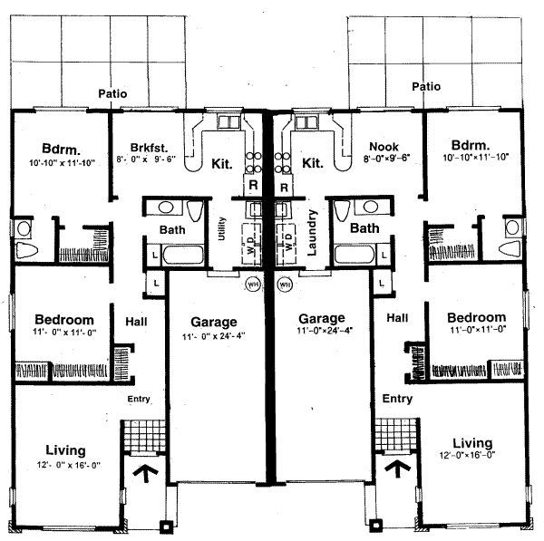 Charmant Two Bedroom House Plans For Small Land: Two Bedroom House Plans Symmetrical  Shape Double Living Room Double Patio | House Ideas | Pinterest | Patios,  ...
